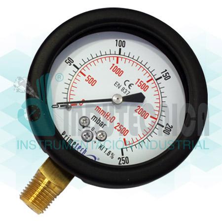 Manómetro Primetech Tipo Capsula (2 3/4″ Inf.)