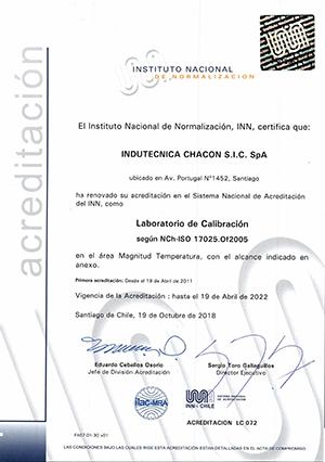 Certificado de acreditación temperatura (LC 072)